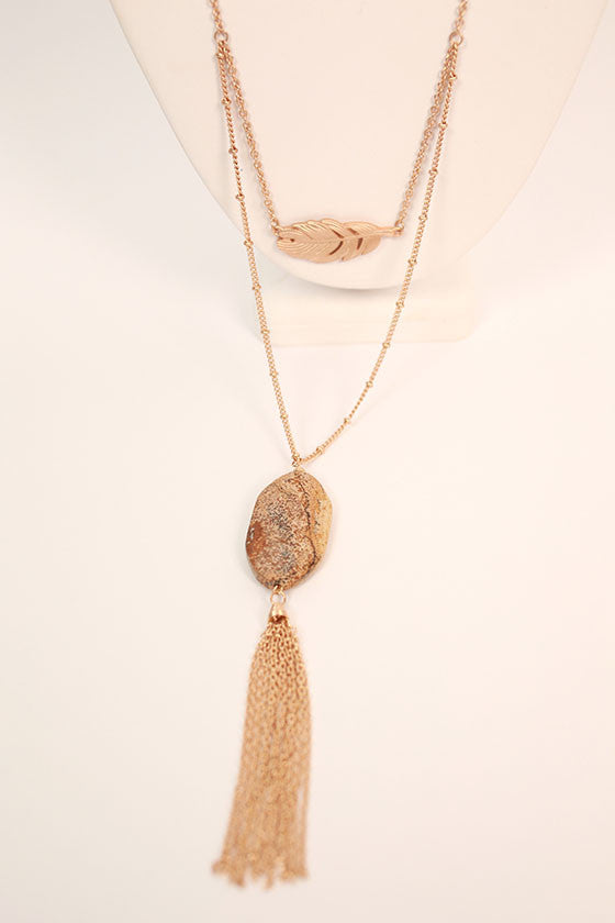 Brunch Hour Tassel Necklace in Beige