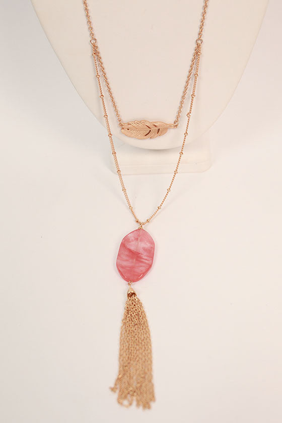 Brunch Hour Tassel Necklace in Coral
