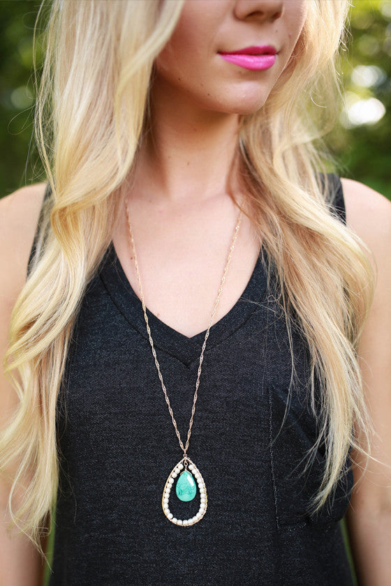 Pearls & Juleps Necklace in Turquoise