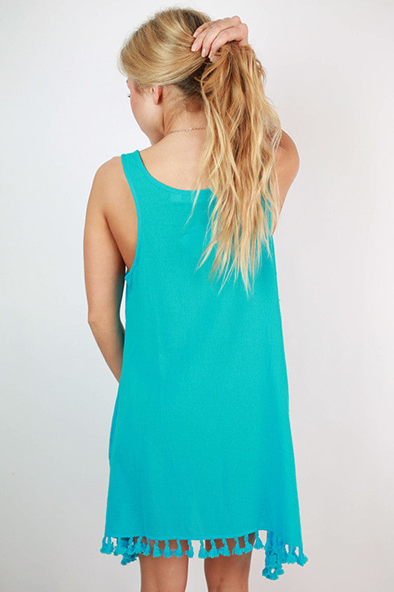 Bermuda Swing Tank Tassel Dress in Ocean Blue