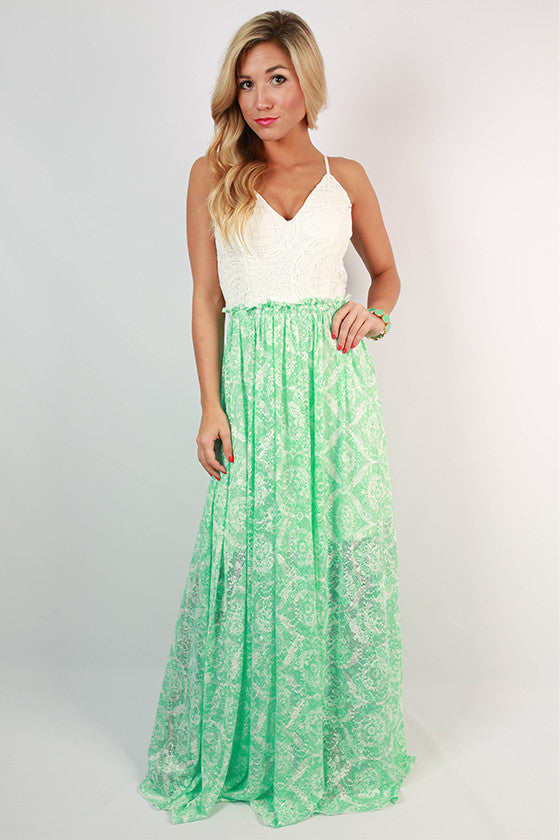 Happy Hour At The Plaza Lace Maxi Dress