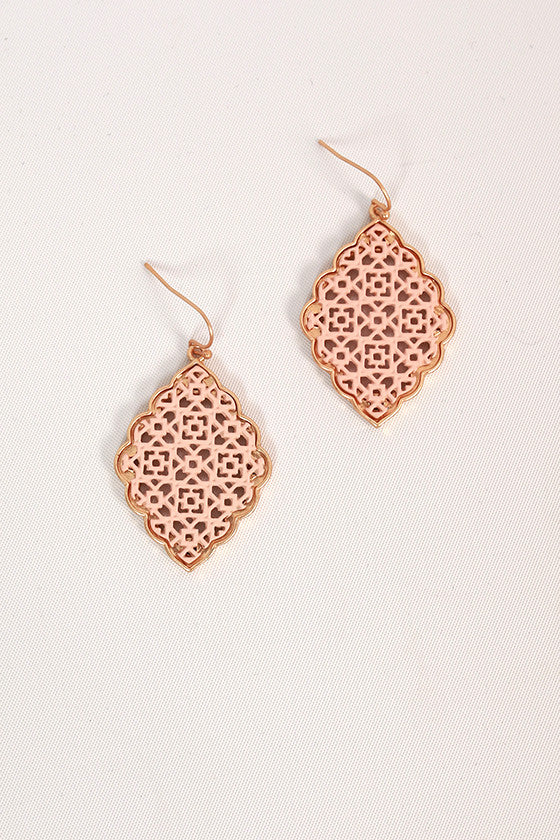 Hello Lucky Girl Earrings in Peach