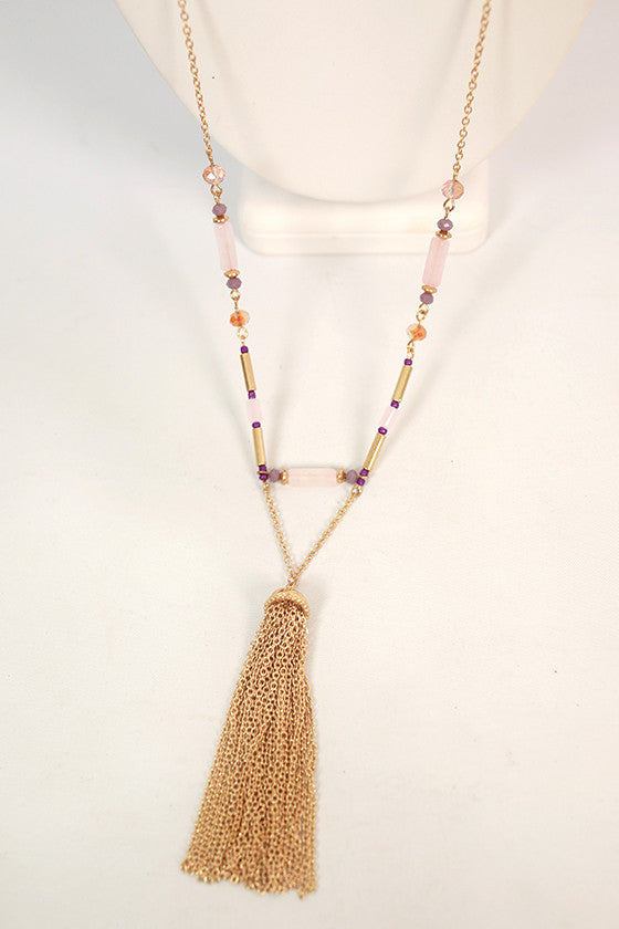 Sunshine & Serendipity Tassel Necklace in Purple