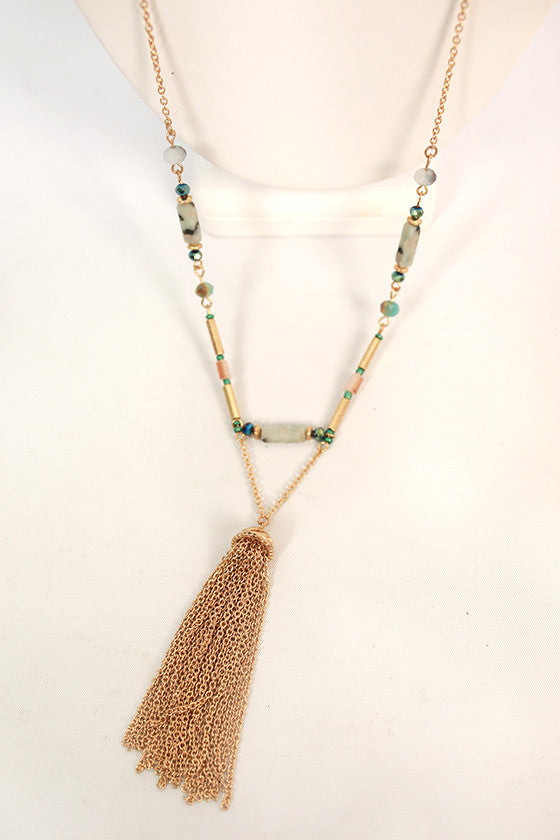 Sunshine & Serendipity Tassel Necklace in Teal