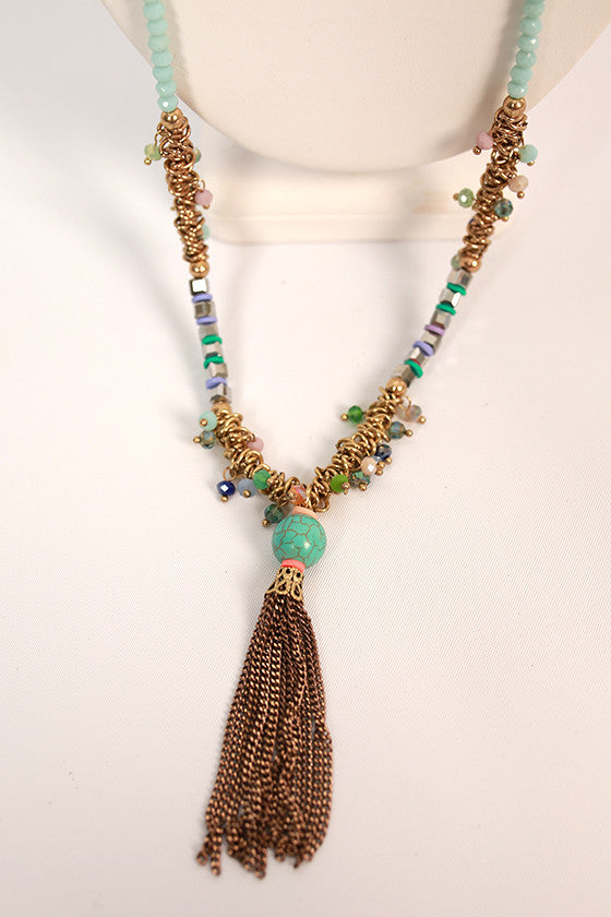 Sparkle & Shine Tassel Necklace in Turquoise