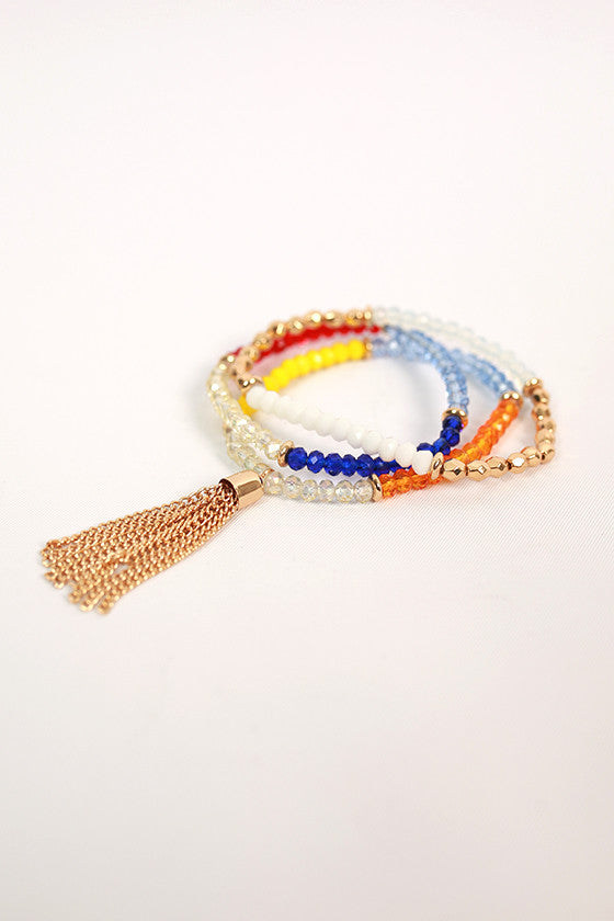 Fashion Cravings Tassel Bracelet Set in Yellow