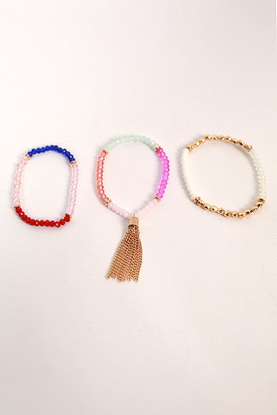 Fashion Cravings Tassel Bracelet Set in Pink