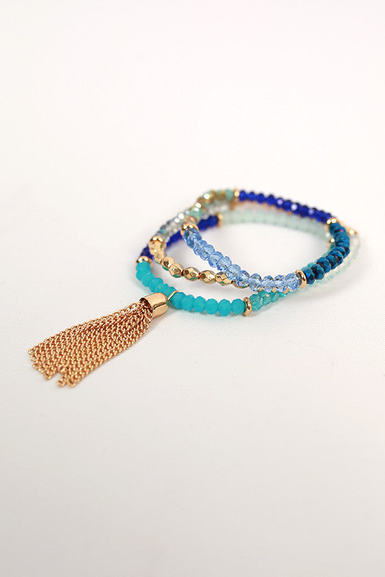 Fashion Cravings Tassel Bracelet Set in Blue