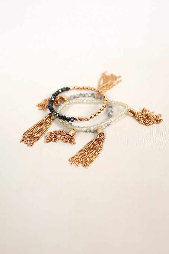 Fashion Fabulous Tassel Bracelet Set in Black