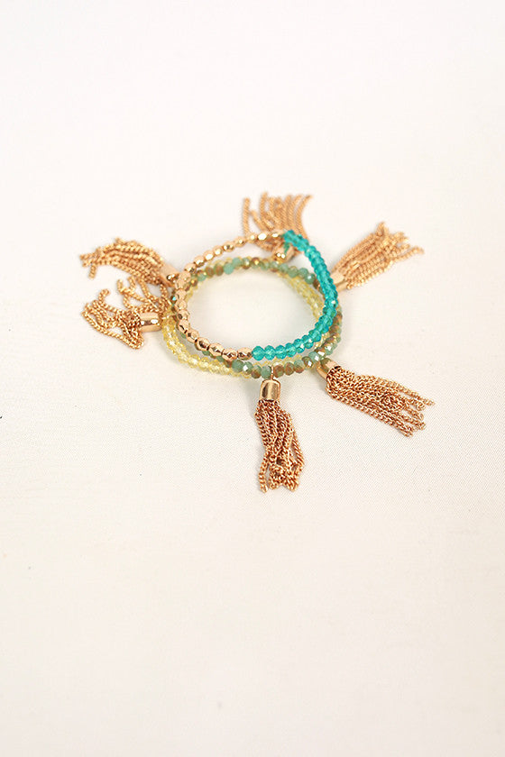 Fashion Fabulous Tassel Bracelet Set in Blue