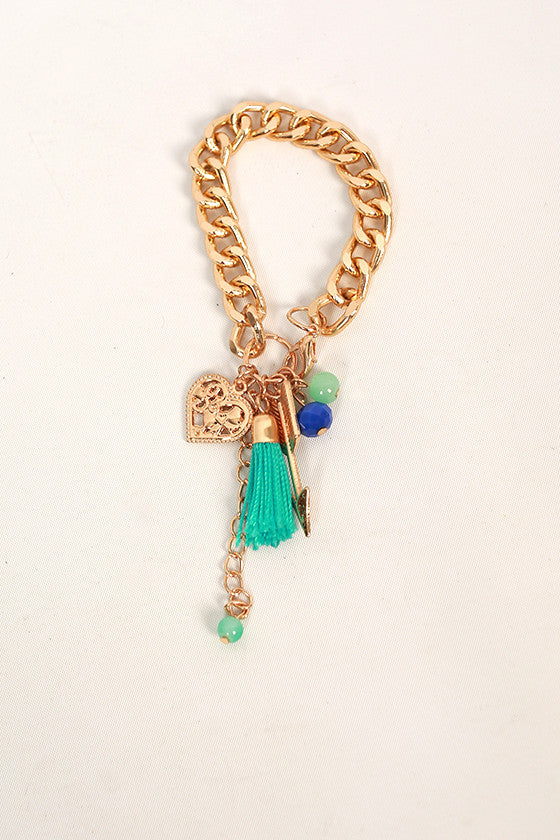 Lively Charms & Tassel Bracelet in Blue