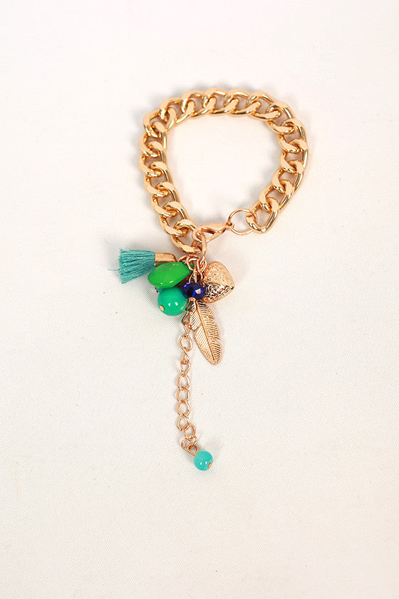 Lively Charms & Tassel Bracelet in Turquoise