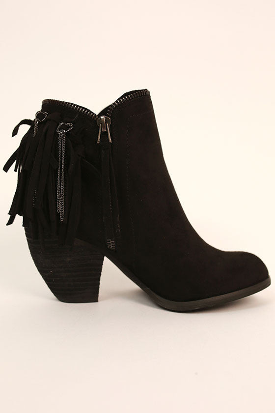 Flippin Fringe Bootie in Black