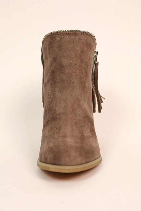 Flippin Fringe Bootie in Taupe