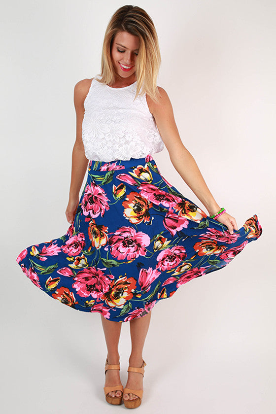 Cocktails in Chiffon Floral Skirt