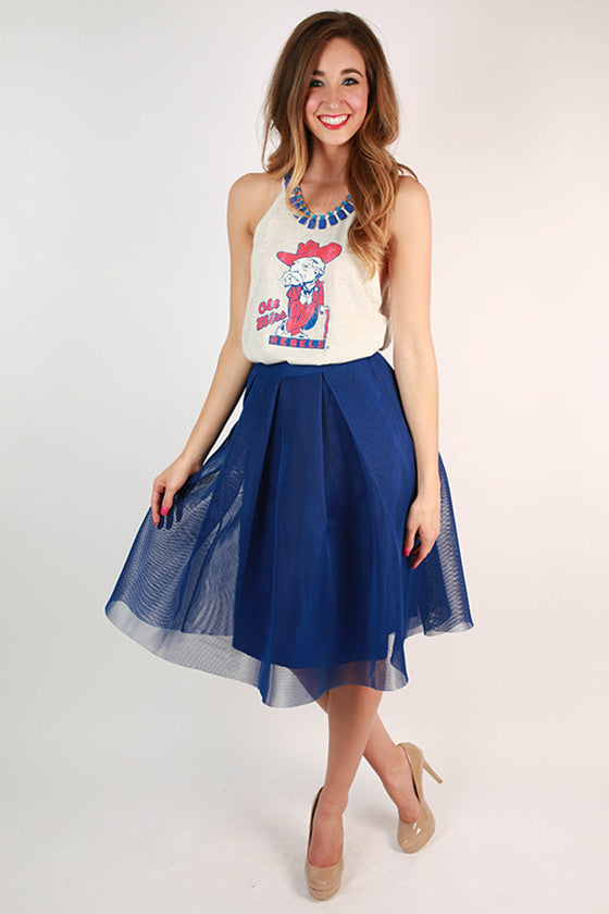 Ballet & Cabernet Skirt in Royal Blue