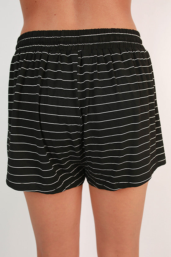 Sip & Giggle Stripe Shorts in Black