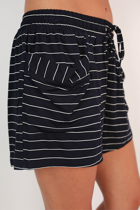 Sip & Giggle Stripe Shorts in Navy