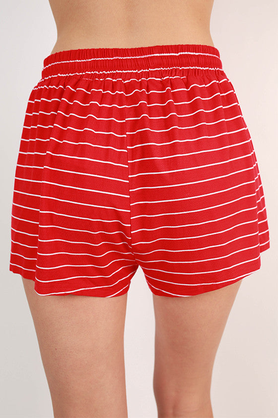 Sip & Giggle Stripe Shorts in Red