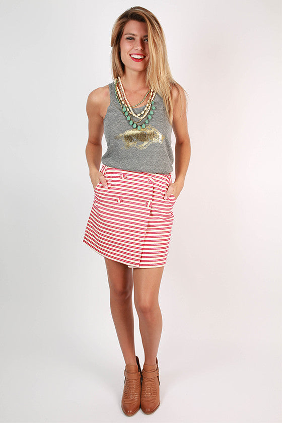 Rhythm & Blues Button Skirt in Red