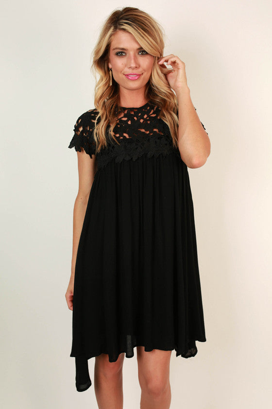 Croquet & Crochet Babydoll Dress in Black
