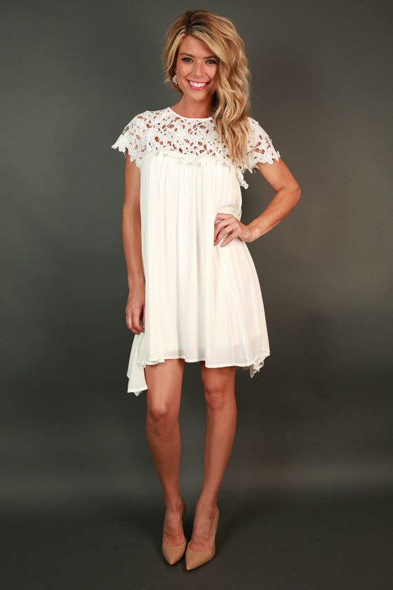 9d5443627fe Croquet   Crochet Babydoll Dress in White • Impressions Online Boutique