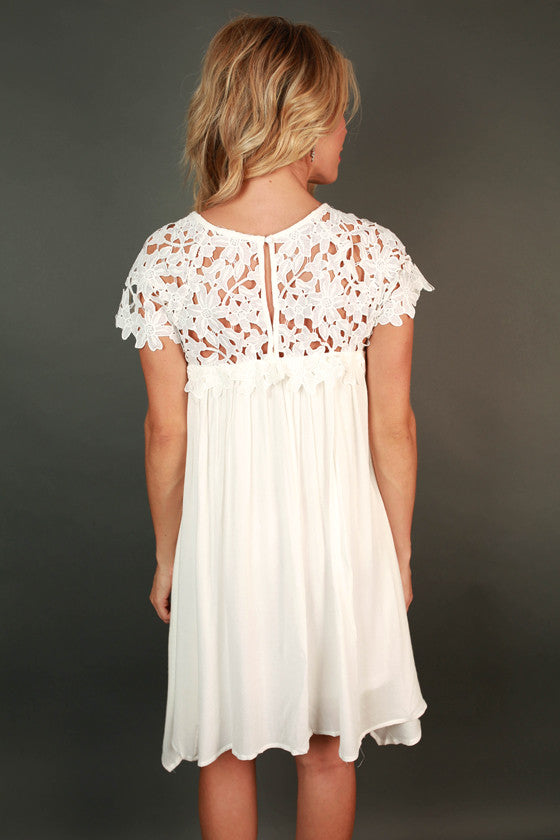 Croquet & Crochet Babydoll Dress in White