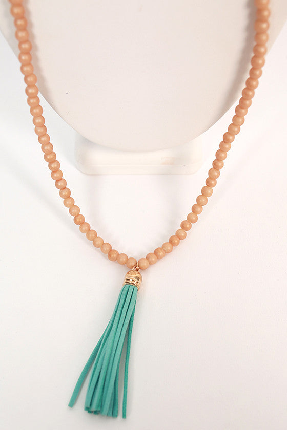 Friends in Florence Tassel Necklace in Aqua
