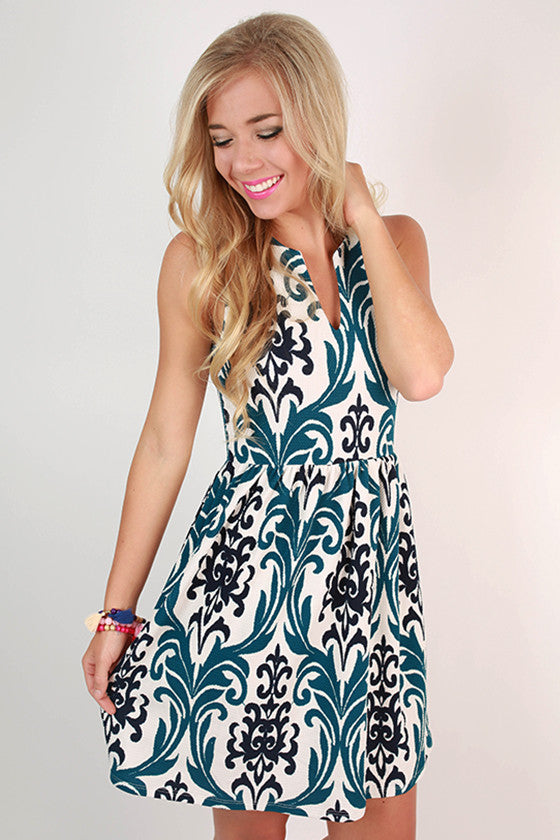 Juniper Juleps Fit & Flare Dress in Teal