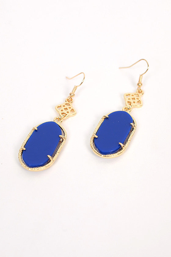 Lilly Scroll Earrings in Blue