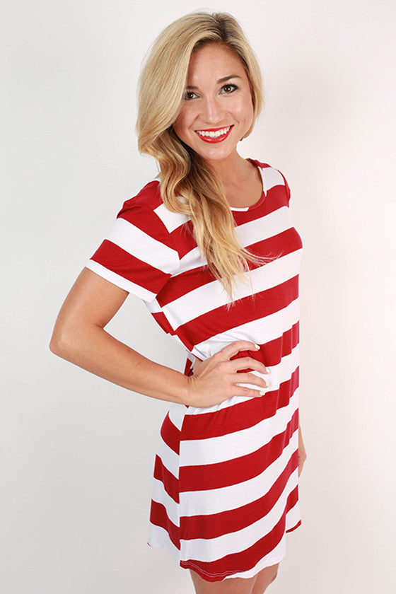 Southern Stripes Tunic in Crimson