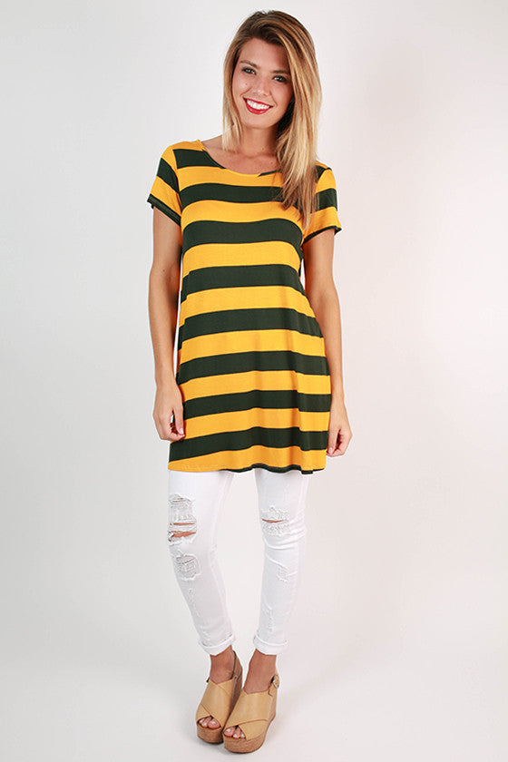 Southern Stripes Tunic in Hunter Green