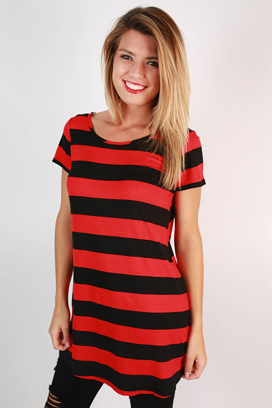 Southern Stripes Tunic in Black