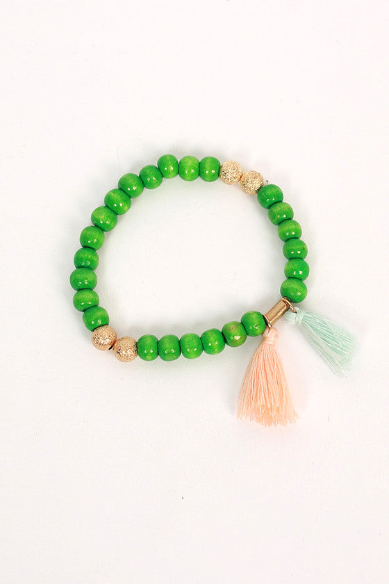 Boho Love Stacking Bracelets in Green