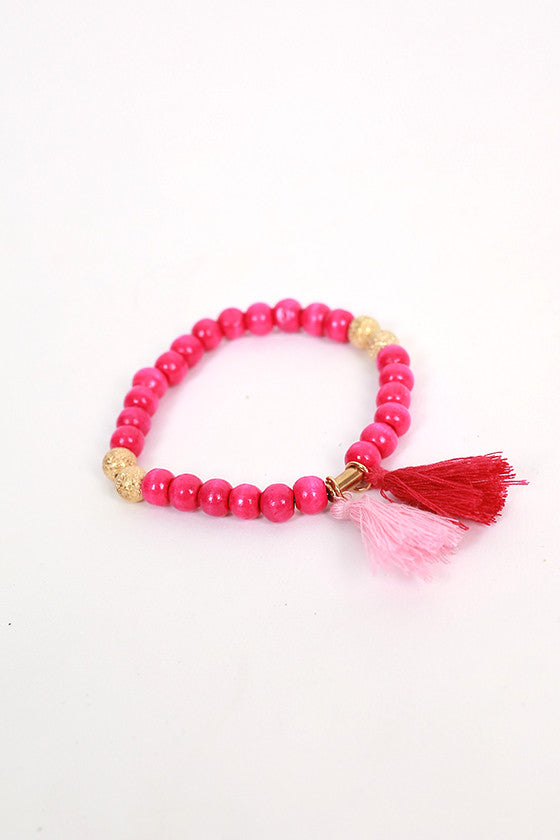 Boho Love Stacking Bracelets in Magenta