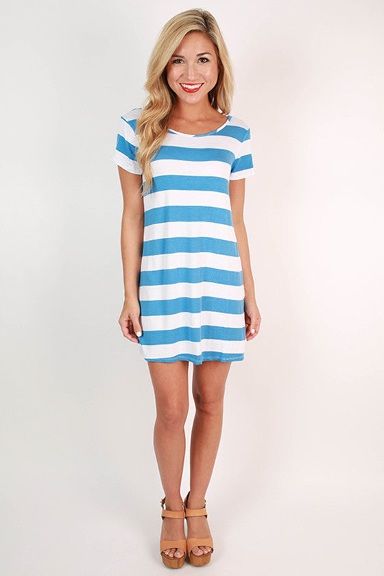 Southern Stripes Tunic in Electric Blue