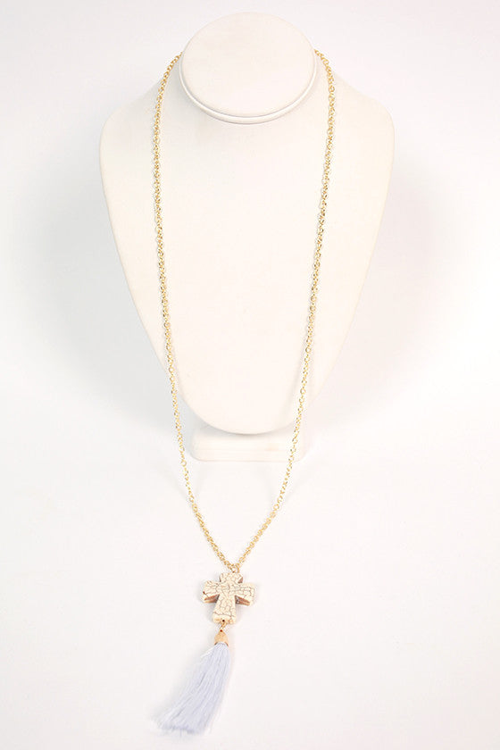 Cross Tassel Necklace in Ivory