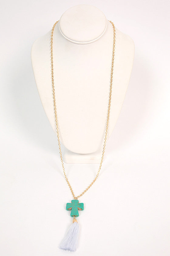 Cross Tassel Necklace in Turquoise