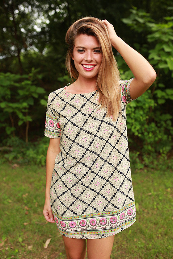 Honeybee Printed Shift Dress in Stone
