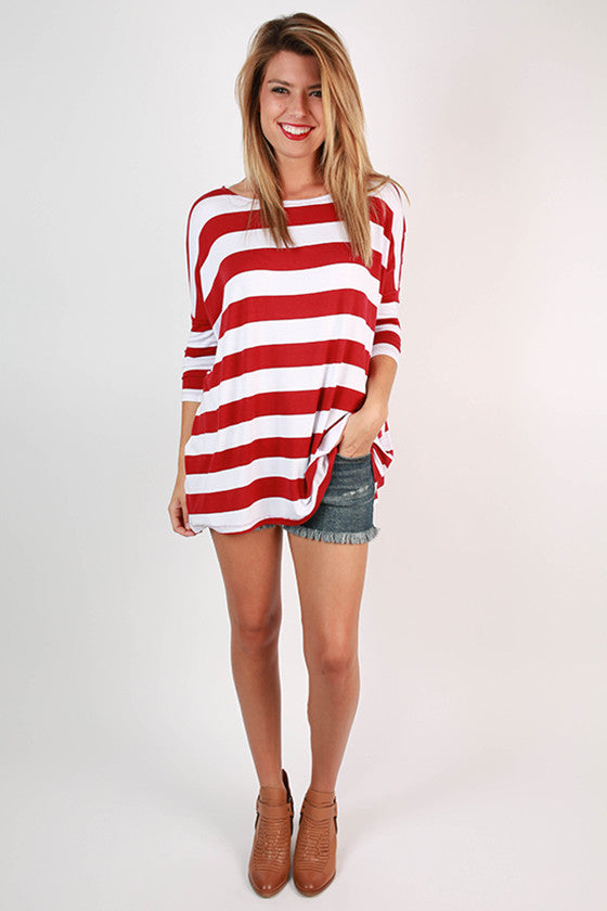 Southern Stripes Top in Crimson