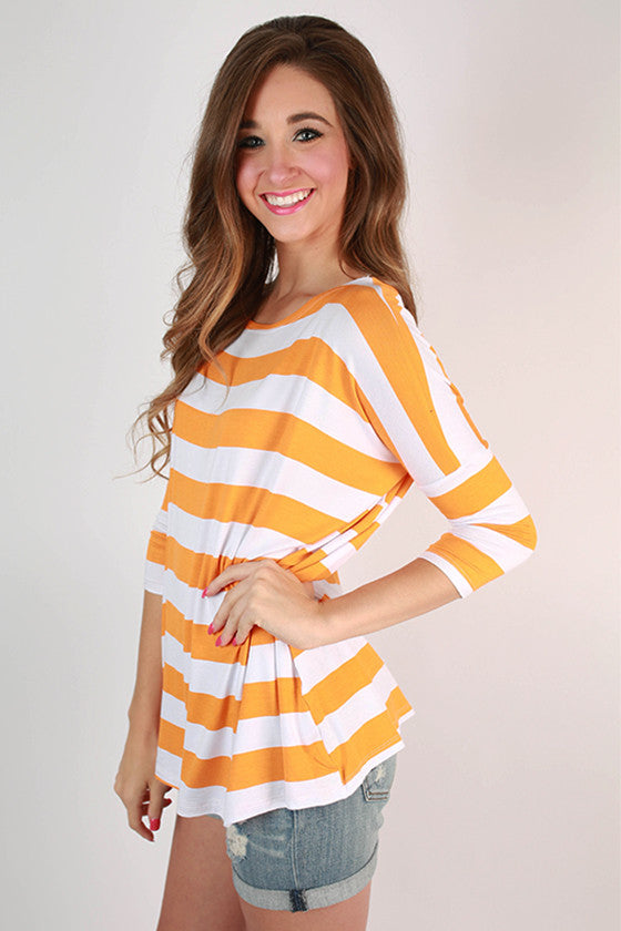 Southern Stripes Top in Apricot