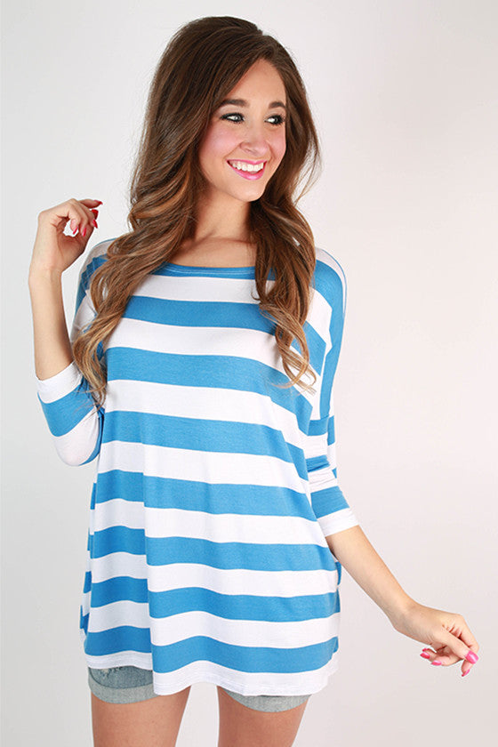 Southern Stripes Top in Electric Blue