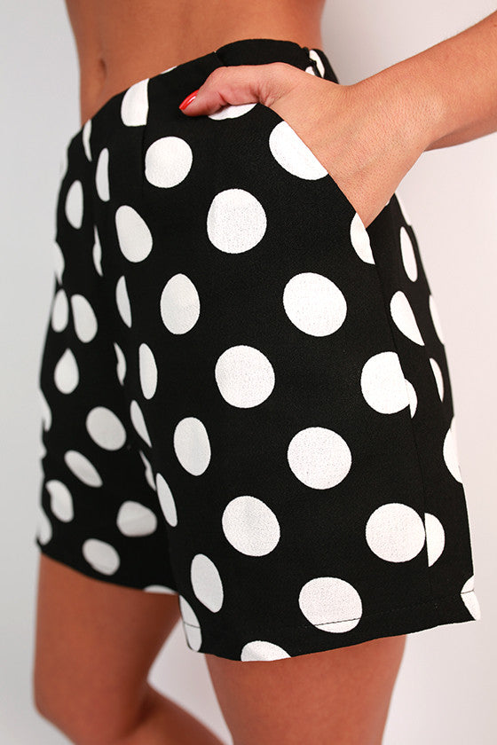 Bright Idea Dot High Waist Shorts in Black