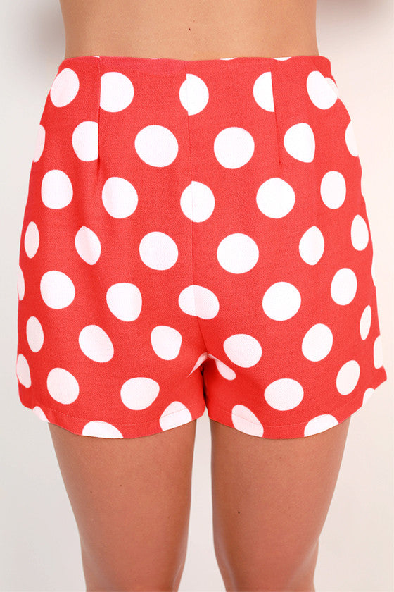 Bright Idea Dot High Waist Shorts in Neon Coral