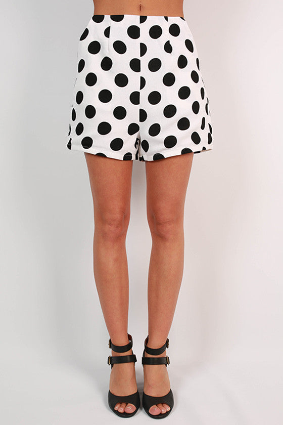Bright Idea Dot High Waist Shorts in White
