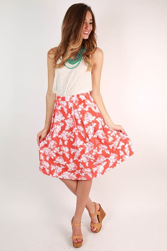 Daydream Chasing Floral Midi Skirt
