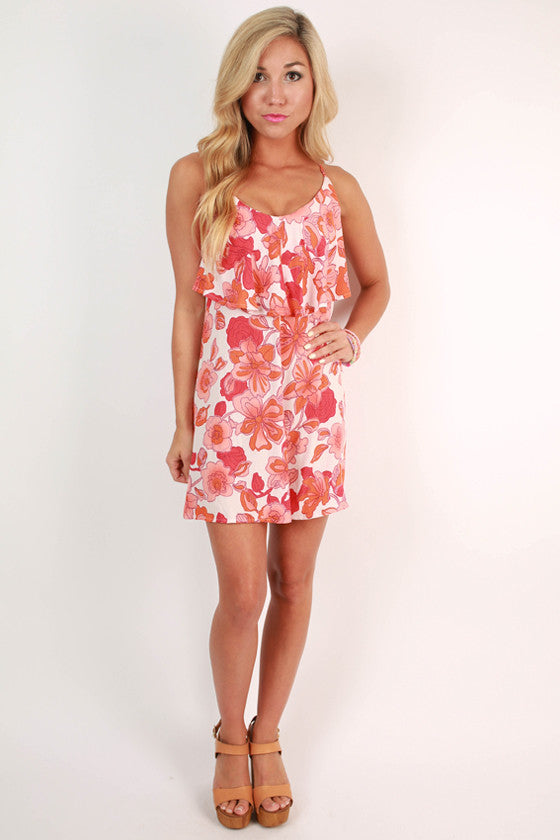 Peaches & Cream Floral Ruffle Tunic Dress