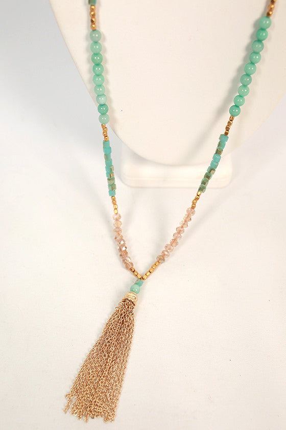 Tassel & Chic Necklace in Aqua
