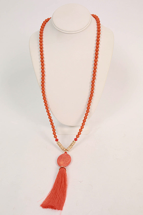 Midnight Dreaming Tassel Necklace in Tangerine