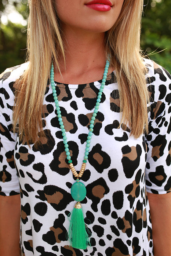 Midnight Dreaming Tassel Necklace in Turquoise